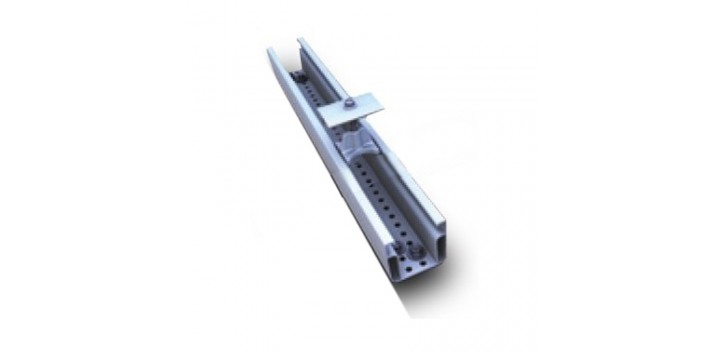 Aluminum mounting rail with middle plate for corrugated roof