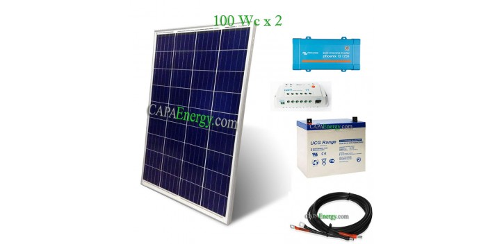 Kit solar 200Wc mono - 55Ah - 250VA