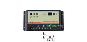 Régulateur de charge de 10A ou 20A pour 2 batteries séparées.