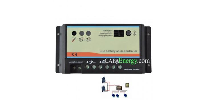 Regulador de carga de 10 A o 20 A para 2 baterías separadas.