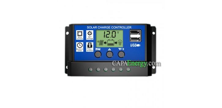 Régulateur de charge Solaire PWM 12 /24V 10A / 20A / 30A