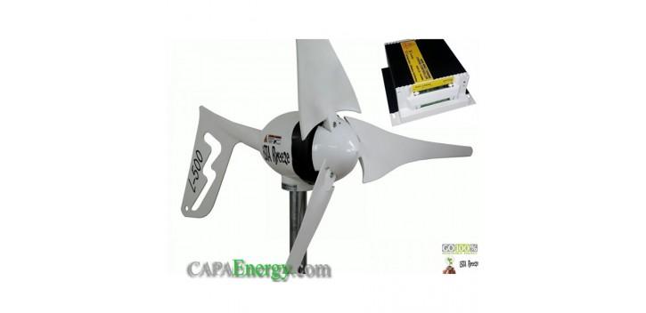 Turbine éolienne 500W-24V, régulateur i500 Land + 500W