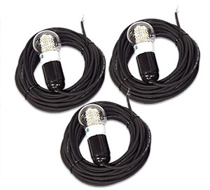 3x Cable with cover and LED bulb 12V 4w